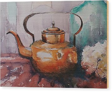 Copper Kettle Wood Print