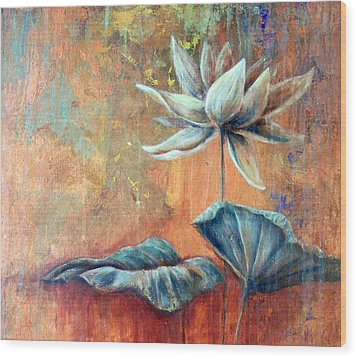 Copper Lotus Wood Print