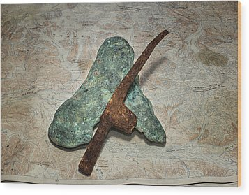 Copper Nugget Rock Hammer And Map Wood Print