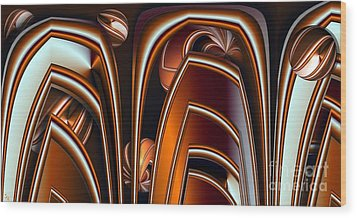 Copper Shields Wood Print by Ron Bissett