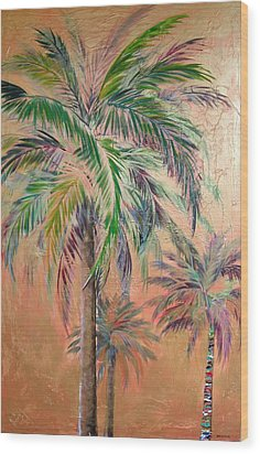 Copper Trio Of Palms Wood Print by Kristen Abrahamson