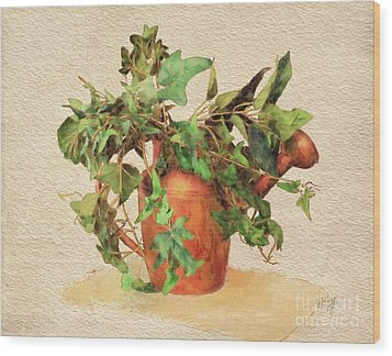 Wood Print featuring the digital art Copper Watering Can by Lois Bryan