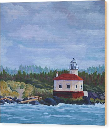 Wood Print featuring the painting Coquille Light by Nancy Jolley