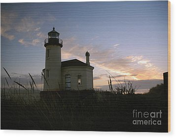Coquille River Lighthouse At Sunset Wood Print