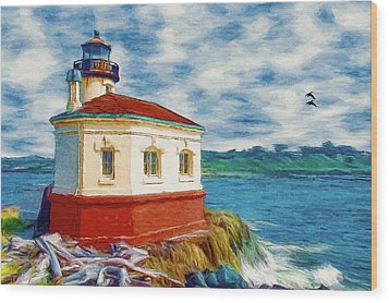 Coquille River Lighthouse Wood Print by Jeff Kolker
