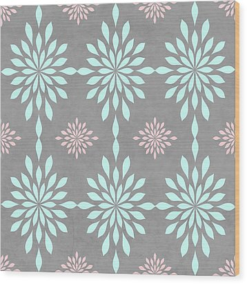 Coral And Turquoise Gray Wood Print