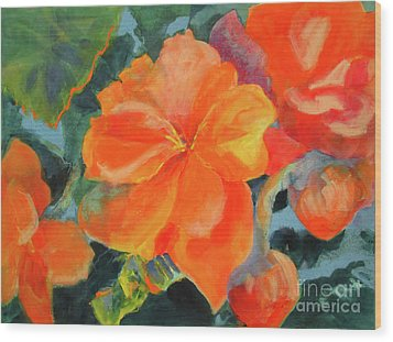 Wood Print featuring the painting Coral Begonias by Kathy Braud