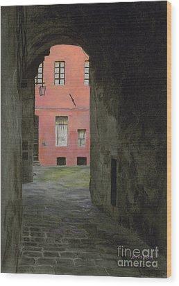 Coral Corridor Siena Italy Wood Print by Kelly Borsheim