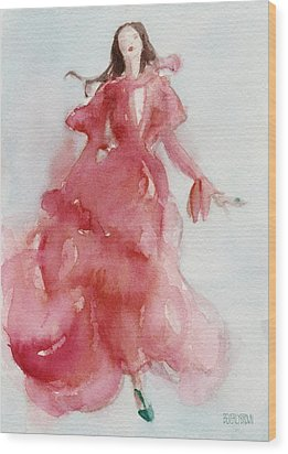 Coral Evening Dress Wood Print by Beverly Brown