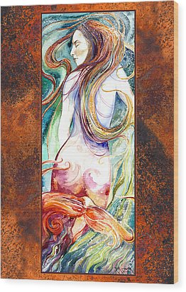 Coral Mermaid Wood Print by Ragen Mendenhall