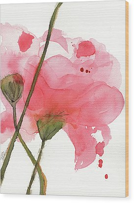 Wood Print featuring the painting Coral Poppies by Dawn Derman