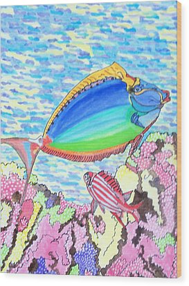 Coral Reef Wood Print by Connie Valasco