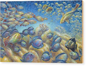 Wood Print featuring the painting Coral Reef Life Silvers by Nancy Tilles
