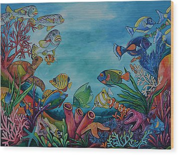 Coral Reef Wood Print by Patti Schermerhorn