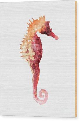 Coral Seahorse Watercolor Painting Wood Print by Joanna Szmerdt