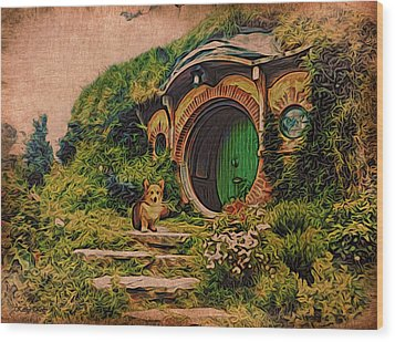 Corgi At Hobbiton Wood Print