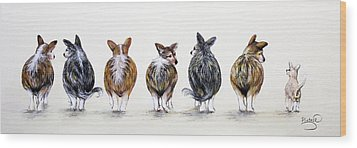Corgi Butt Lineup With Chihuahua Wood Print by Patricia Lintner