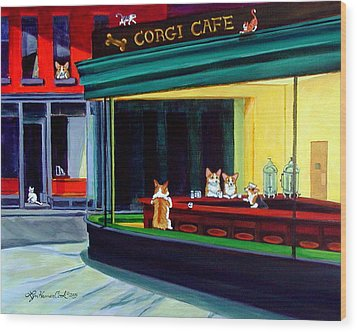 Corgi Cafe After Hopper Wood Print by Lyn Cook
