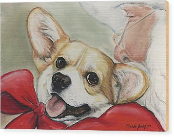 Corgi For Christmas Wood Print