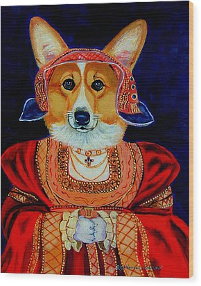 Corgi Queen Wood Print by Lyn Cook