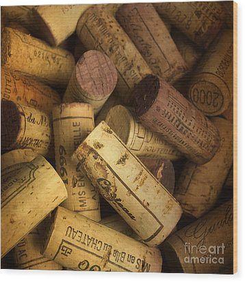 Corks Wood Print by Bernard Jaubert