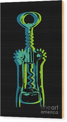 Wood Print featuring the digital art Corkscrew by Jean luc Comperat