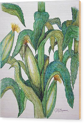 Corn And Stalk Wood Print by J R Seymour