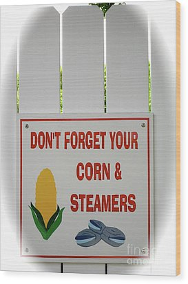Corn And Steamers Wood Print by Beth Saffer