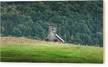 Wood Print featuring the photograph Corn Field Silo by Marvin Spates