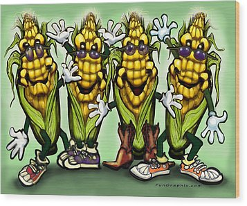Corn Party Wood Print by Kevin Middleton