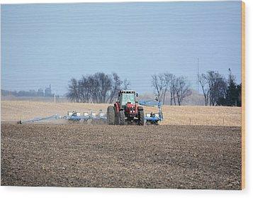 Corn Planting Wood Print