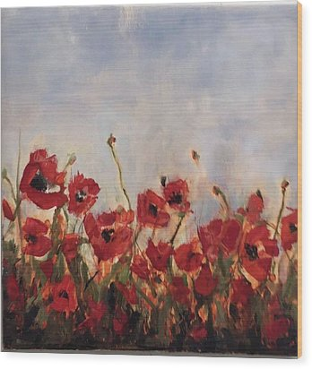Corn Poppies In Remembrance Wood Print