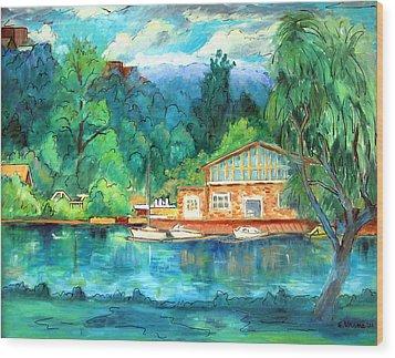 Cornell Boathouse Wood Print by Ethel Vrana