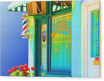 Corner Barber Shop Wood Print by Noel Zia Lee