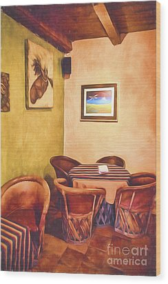 Corner Booth  ... Wood Print by Chuck Caramella
