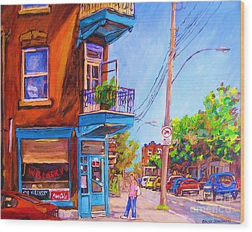 Wood Print featuring the painting Corner Deli Lunch Counter by Carole Spandau