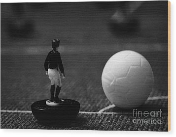 Corner Kick Football Soccer Scene Reinacted With Subbuteo Table Top Football Players Game Wood Print by Joe Fox