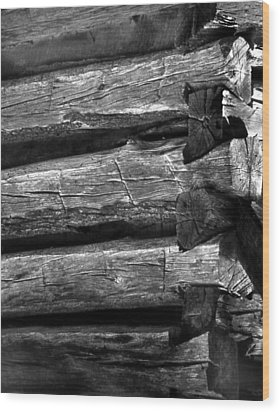 Corner-logs Wood Print by Curtis J Neeley Jr
