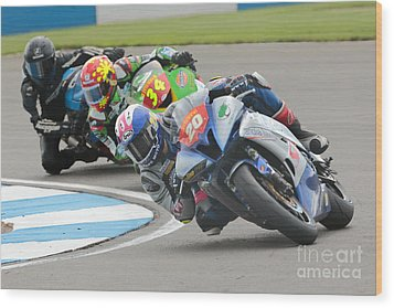 Cornering Motorcycle Racers Wood Print by Peter Hatter