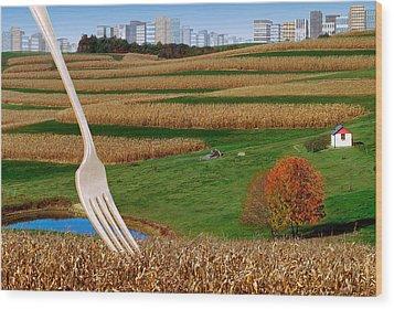Cornfields With City Wood Print