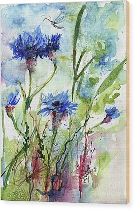 Cornflowers Korn Blumen Watercolor Painting Wood Print by Ginette Callaway