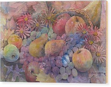 Cornucopia Of Fruit Wood Print by Arline Wagner