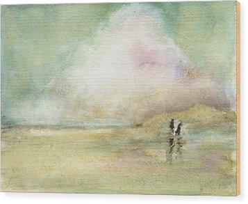 Corolla Beach Stroll Wood Print by Donna Elio