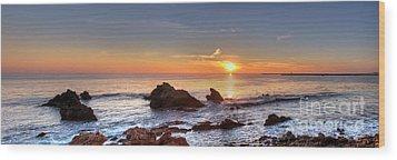 Corona Del Mar Sunset Panorama Wood Print by Eddie Yerkish