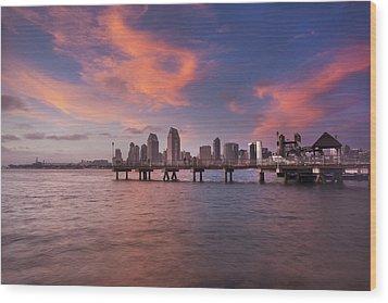 Coronado Ferry Landing Sunset Wood Print by Scott Cunningham