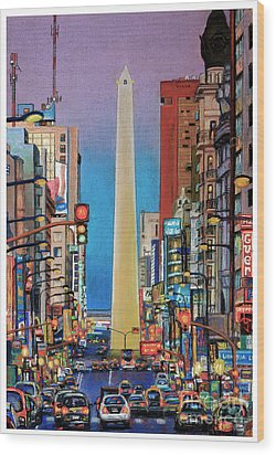 Corrientes Avenue Wood Print by Bernardo Galmarini
