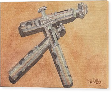 Corroded Trumpet Pistons Wood Print by Ken Powers