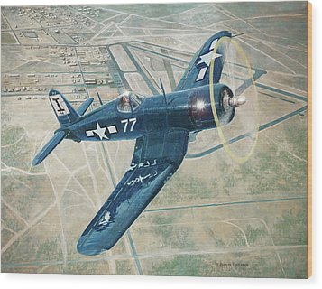Corsair Over Mojave Wood Print by Douglas Castleman