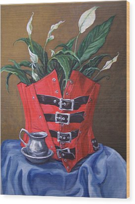 Wood Print featuring the painting Corset And Calla Lily by Laura Aceto
