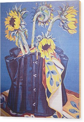 Wood Print featuring the painting Corset And Sunflowers by Laura Aceto
